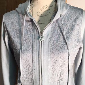 BCBG Maxazria powder blue large lace jacket hoodie